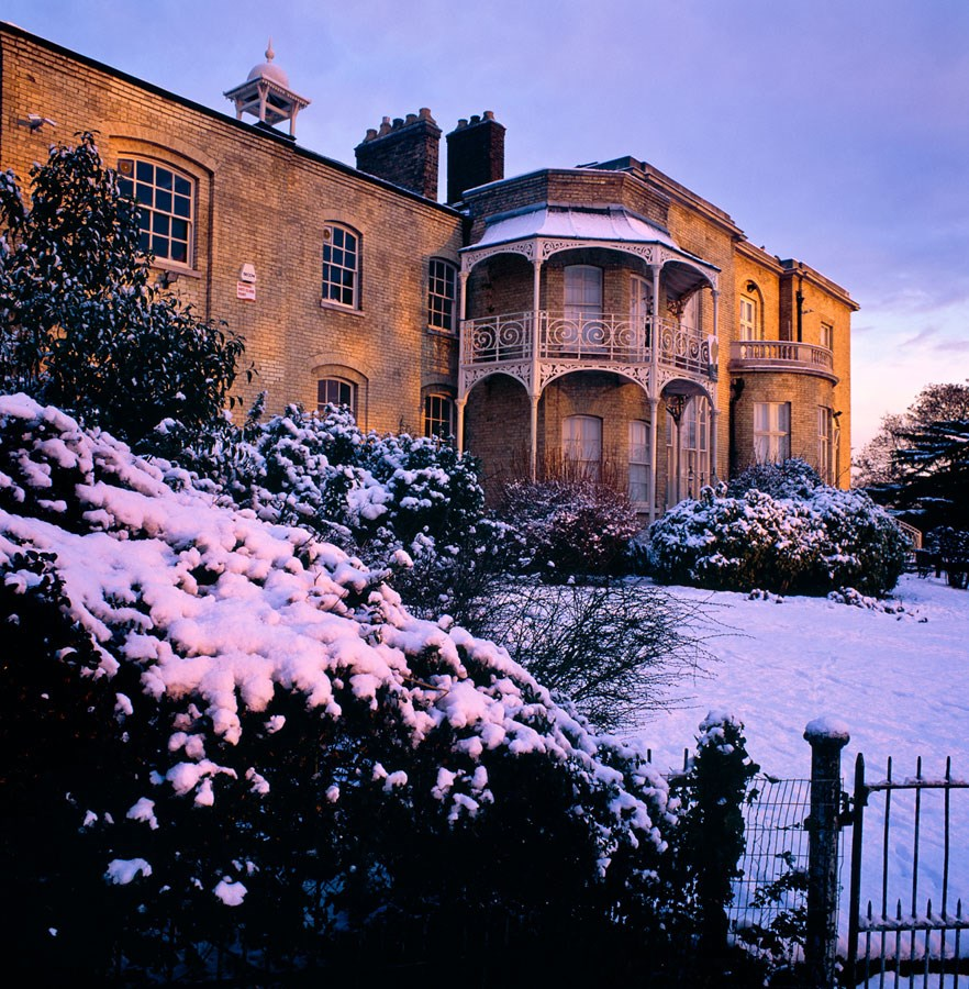"Brockwell Hall in Winter, 2010. Framed Print, 14.5"" sq in 50cm sq black aluminium frame. £125 + Mounted, 12"" sq in 40x50cm mount, £37.50"