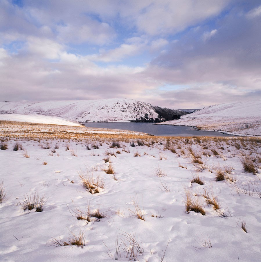 "Craig Goch White Snowscape with Clearing Sky, 2009. Mounted Print, 12"" sq in 40x50cm mount, signed and titled. £37.50"