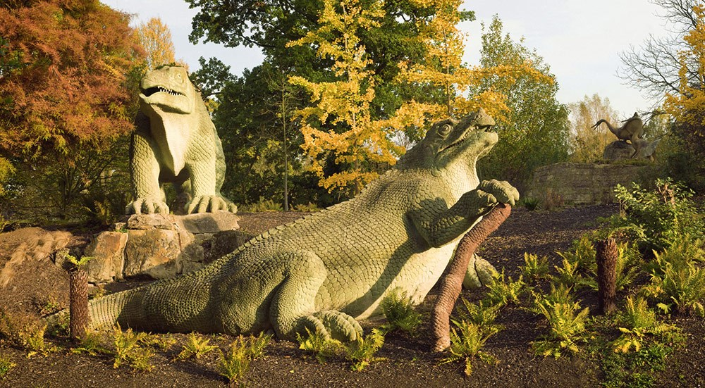 The Iguanodons and Pterodactyls with Autumn Ginkgo, Crystal Palace Park, 2011