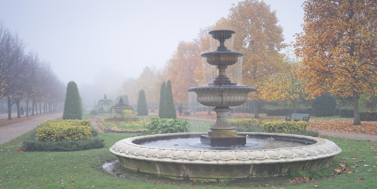 Fountain in Fog, The Avenue Gardens